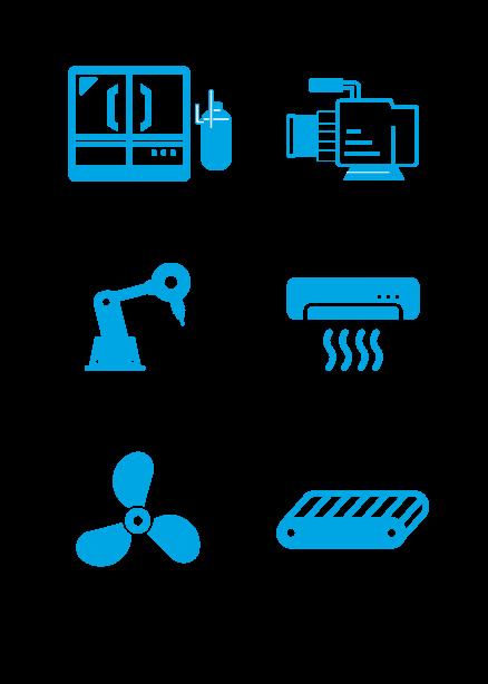 図:冷凍・温調機器 ポンプ機器 工作機械 空調機器 送風機器 運搬機器