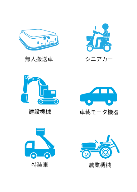 図:無人運送車 シニアカー 建設機器 車載モータ機器 特装車 農業機器